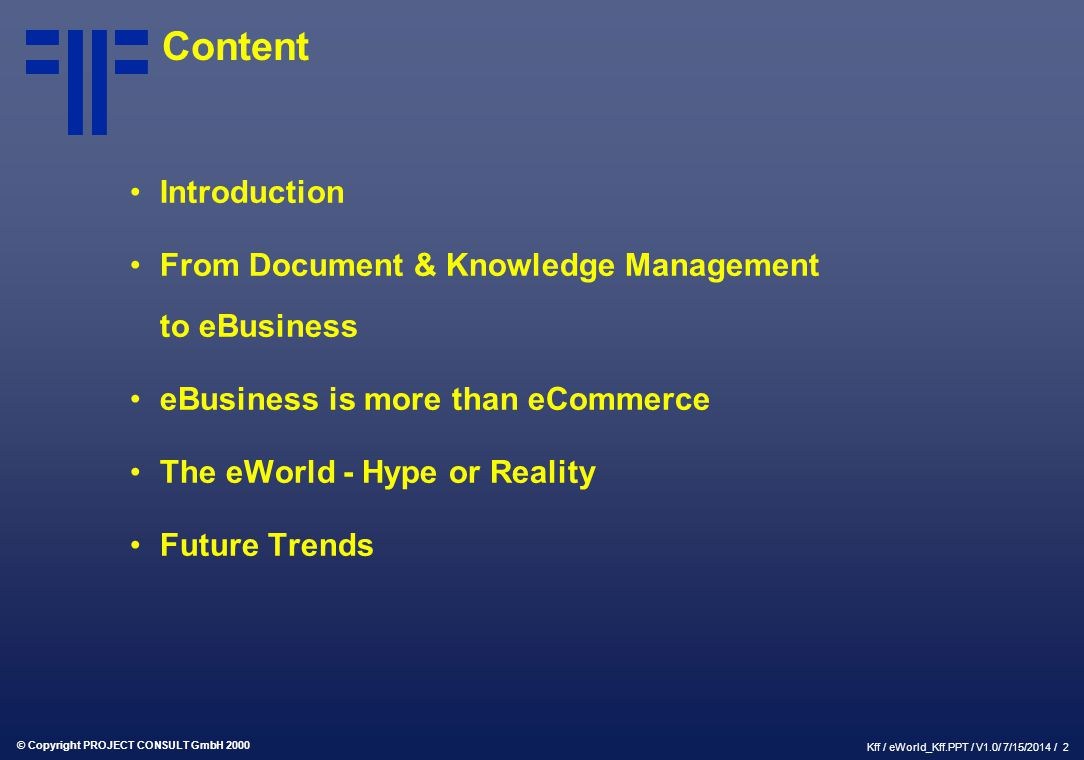 Content Introduction From Document & Knowledge Management to eBusiness
