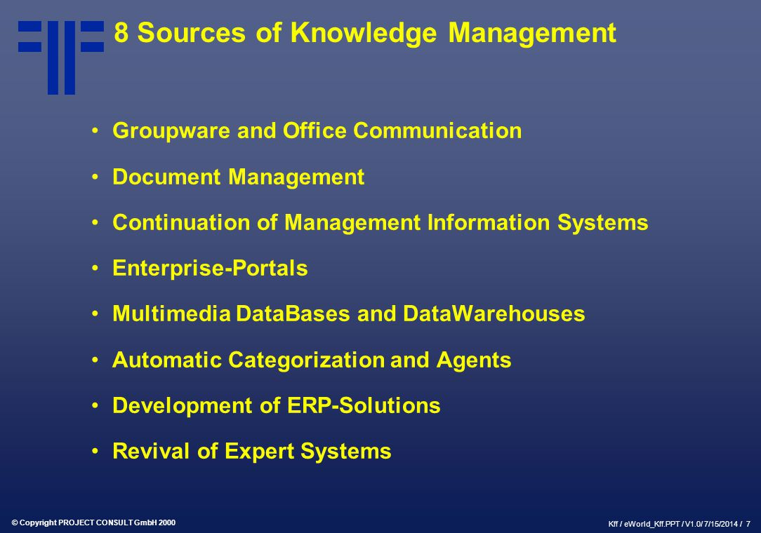 8 Sources of Knowledge Management
