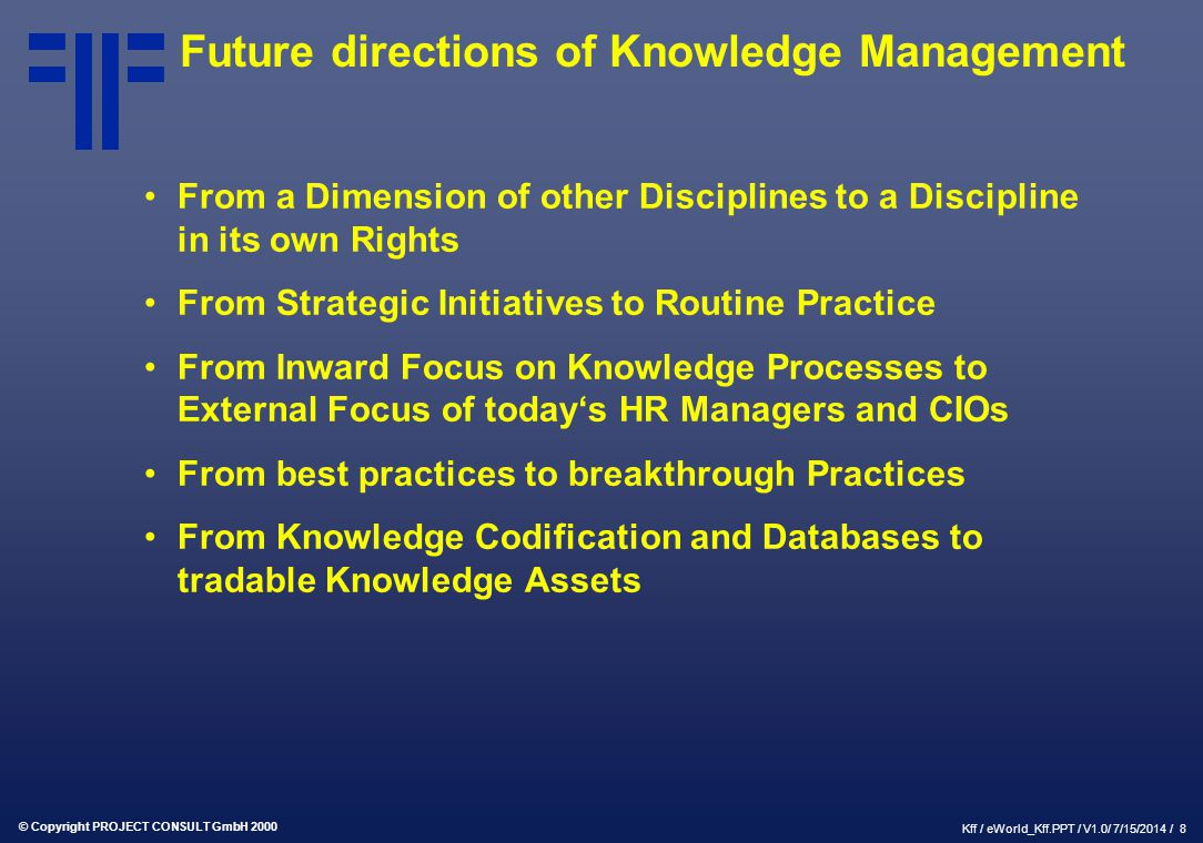 Future directions of Knowledge Management