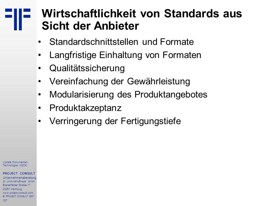 Wirtschaftlichkeit von Standards aus Sicht der Anbieter