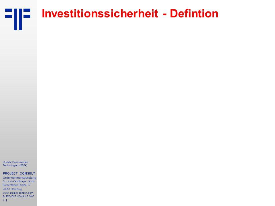 Investitionssicherheit - Defintion