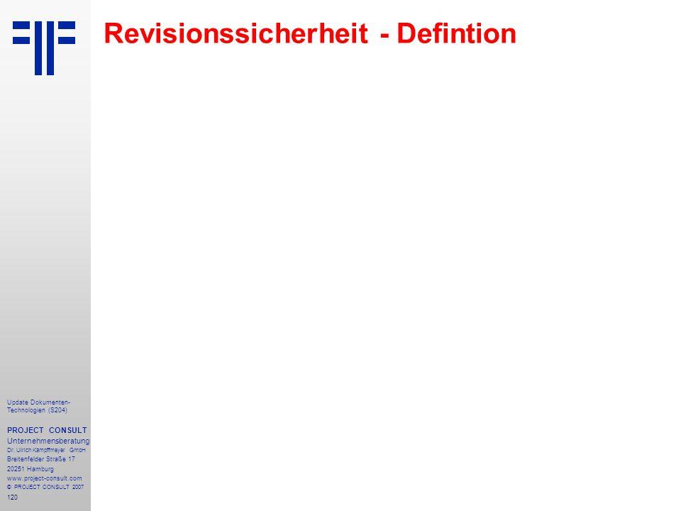 Revisionssicherheit - Defintion