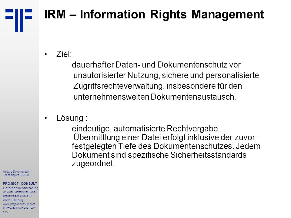 IRM – Information Rights Management