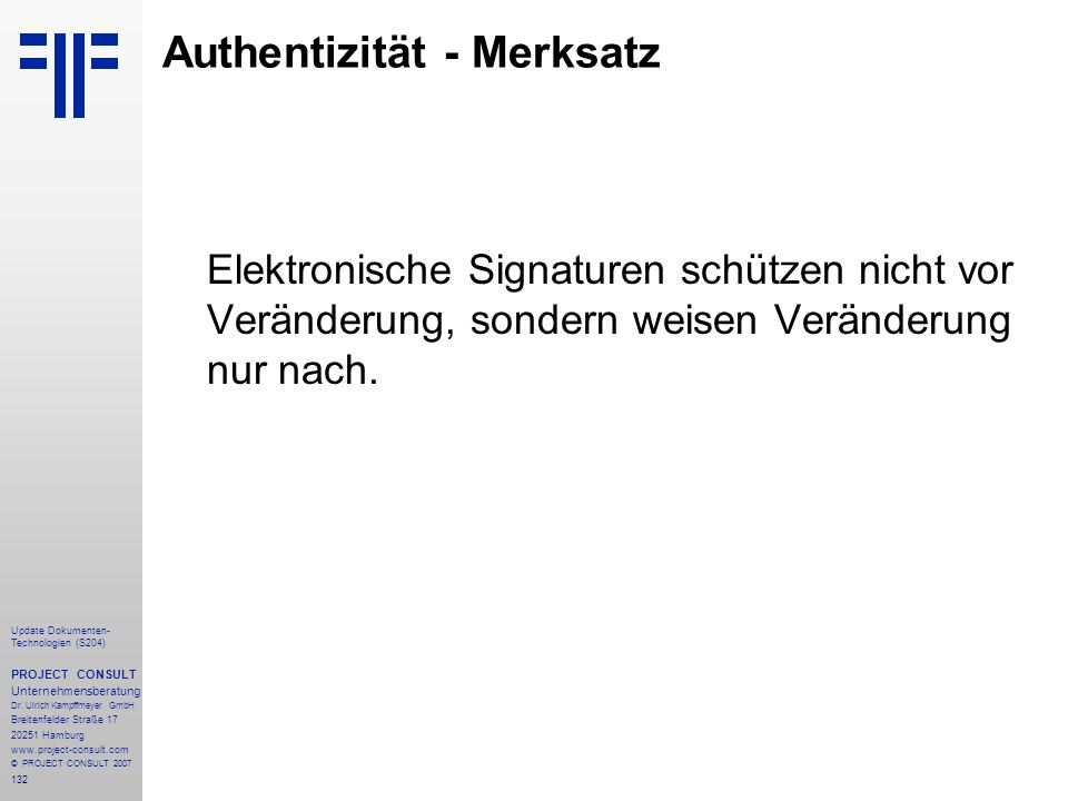 Authentizität - Merksatz