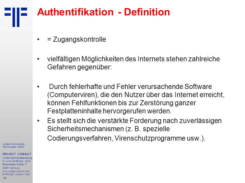 Authentifikation - Definition