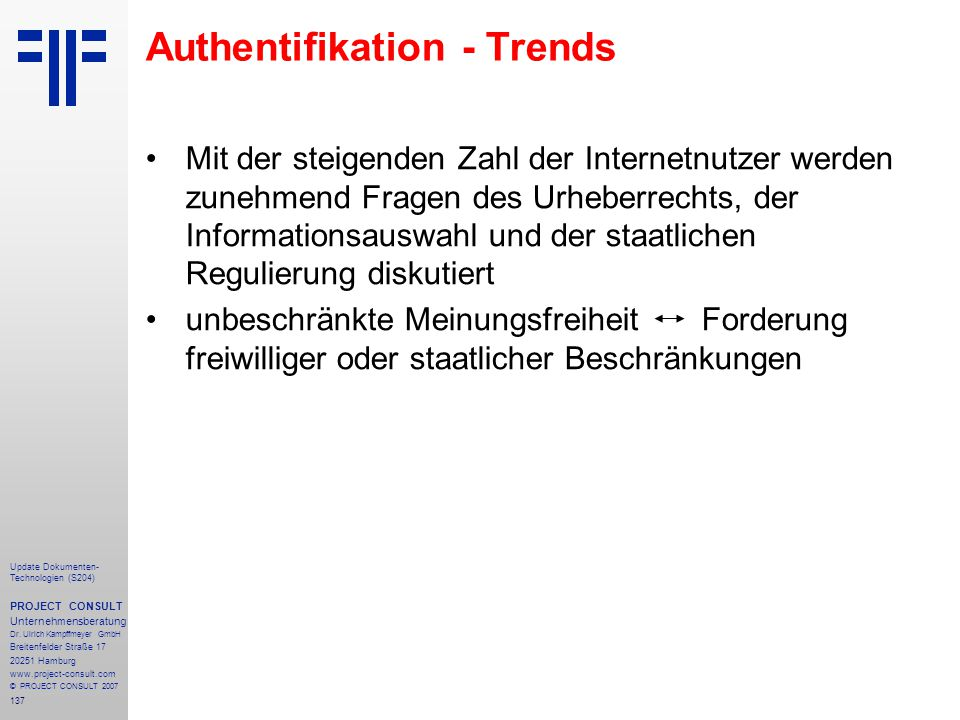 Authentifikation - Trends