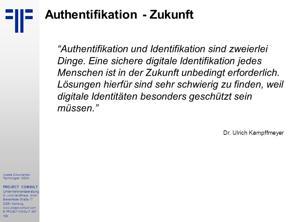 Authentifikation - Zukunft