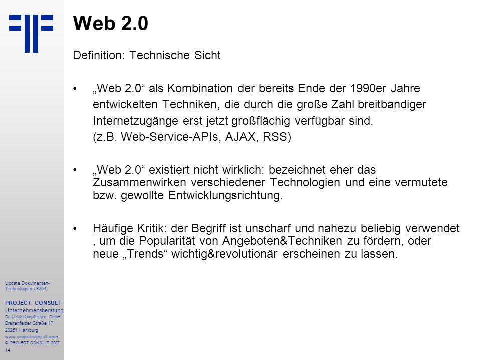 Web 2.0 Definition: Technische Sicht