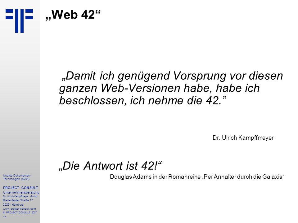 """""""Web 42 """"Die Antwort ist 42!"""