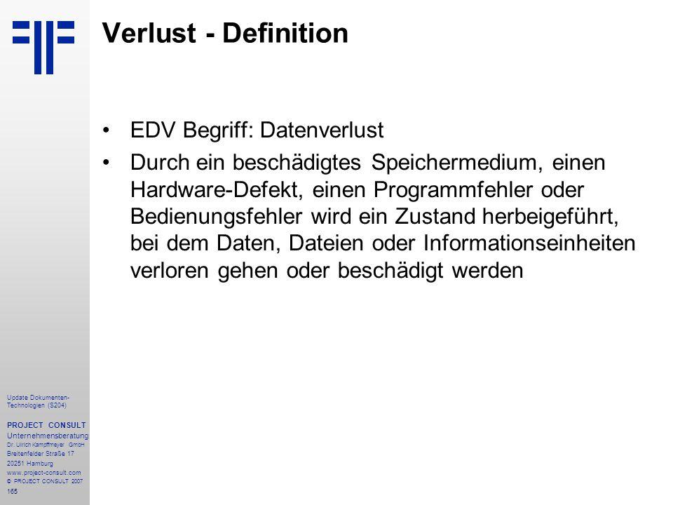 Verlust - Definition EDV Begriff: Datenverlust