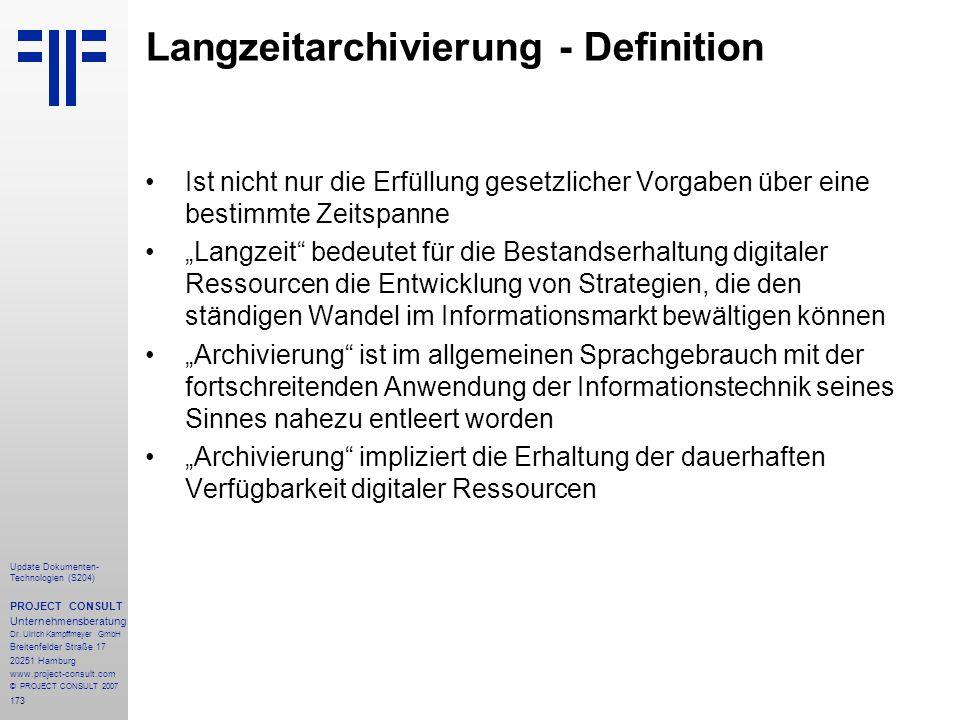Langzeitarchivierung - Definition