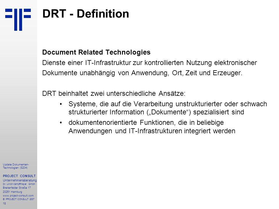 DRT - Definition Document Related Technologies