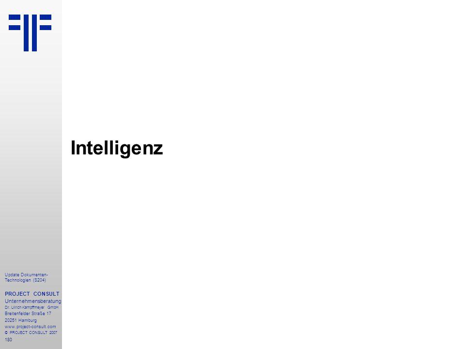 Intelligenz PROJECT CONSULT Unternehmensberatung
