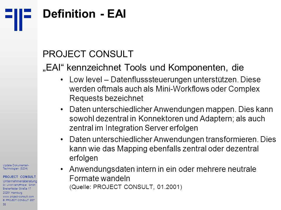 Definition - EAI PROJECT CONSULT