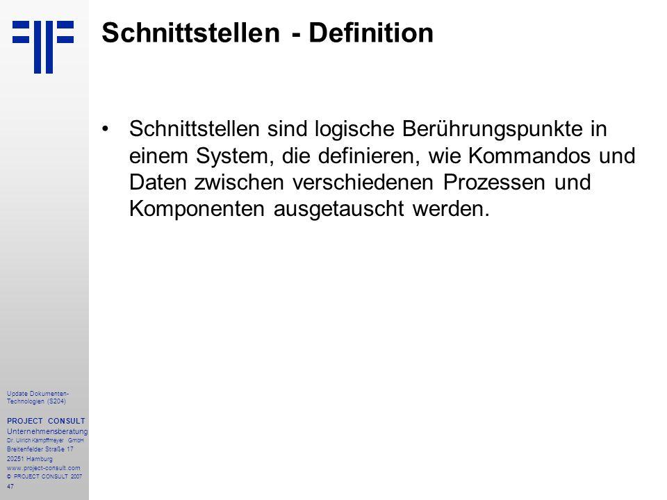 Schnittstellen - Definition