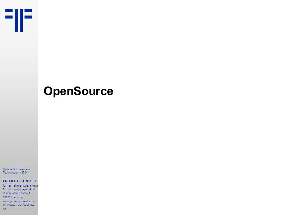OpenSource PROJECT CONSULT Unternehmensberatung