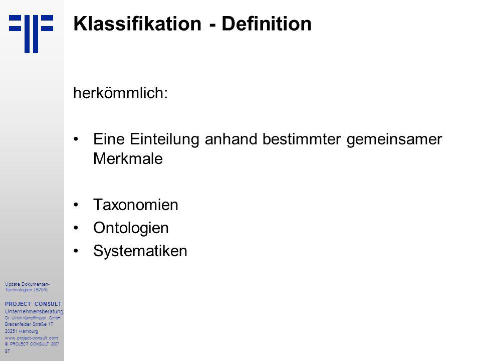 Klassifikation - Definition