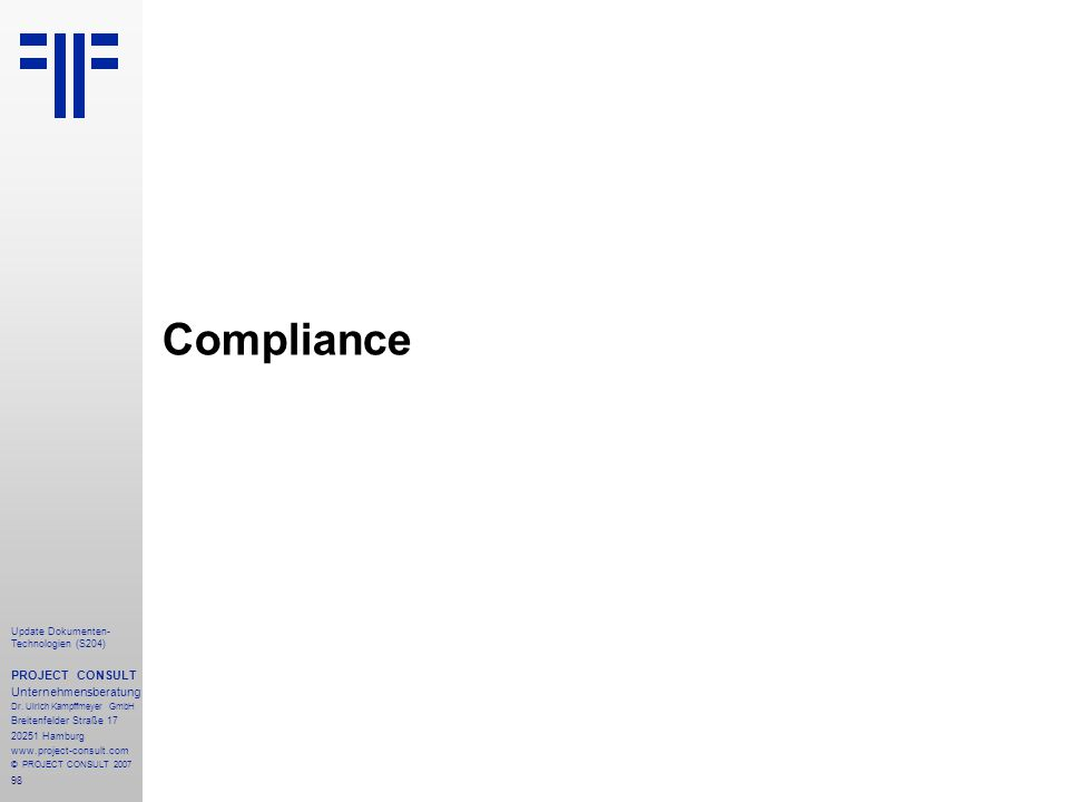 Compliance PROJECT CONSULT Unternehmensberatung