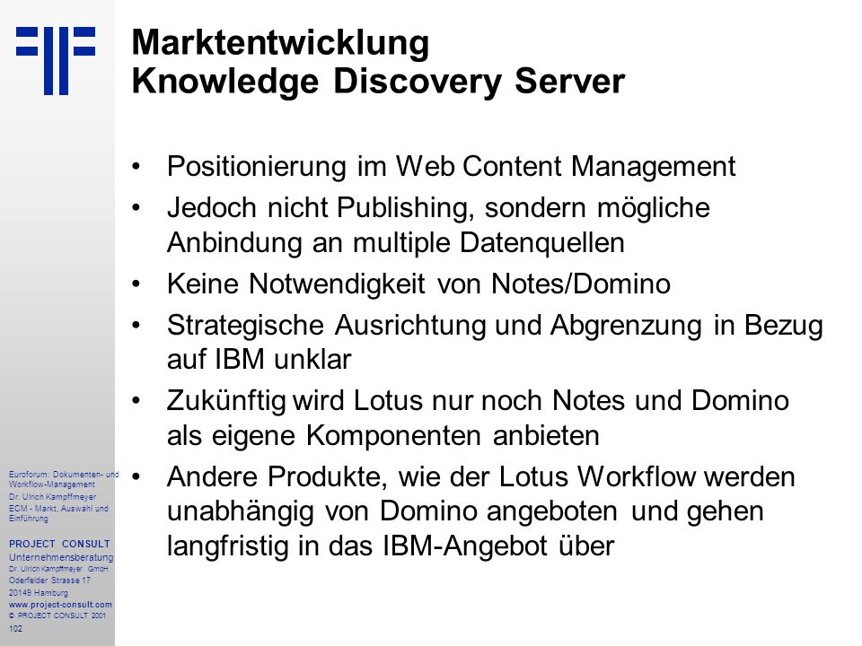 Marktentwicklung Knowledge Discovery Server