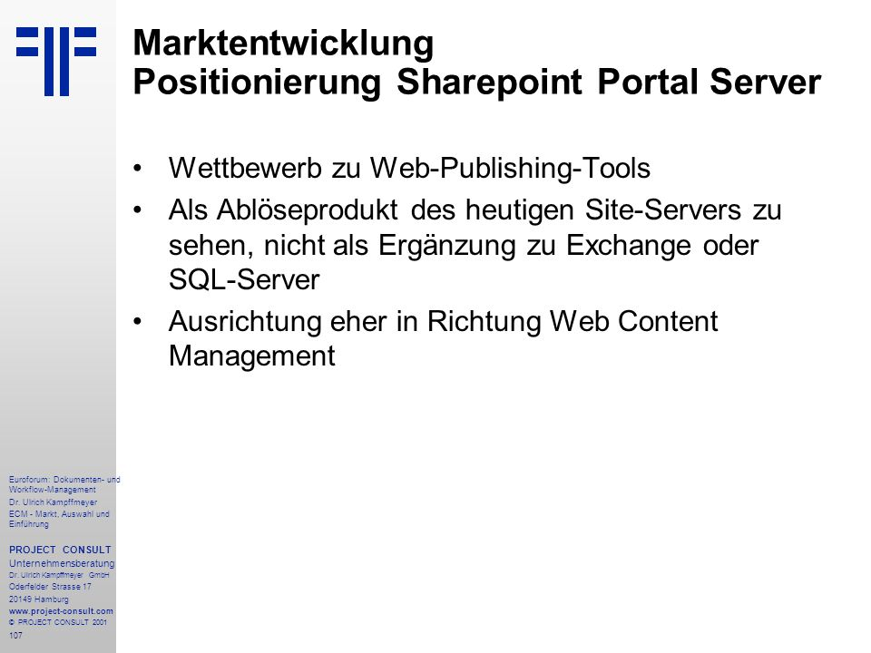 Marktentwicklung Positionierung Sharepoint Portal Server