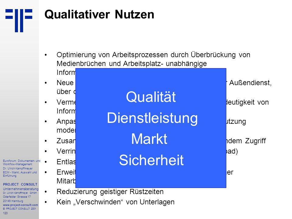 Dienstleistung Markt Sicherheit Qualitativer Nutzen Qualität