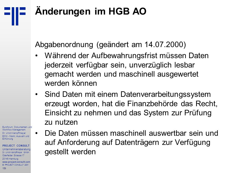 Änderungen im HGB AO Abgabenordnung (geändert am 14.07.2000)