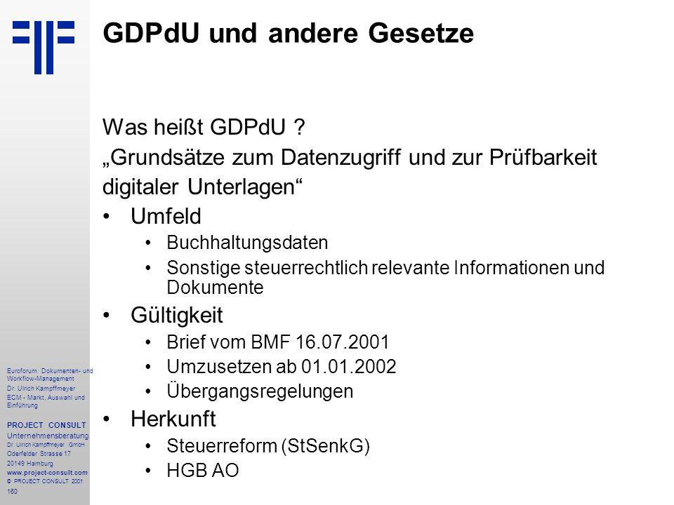 GDPdU und andere Gesetze