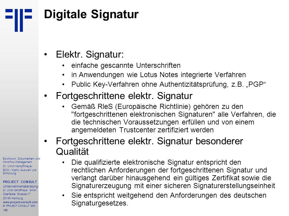 Digitale Signatur Elektr. Signatur: Fortgeschrittene elektr. Signatur