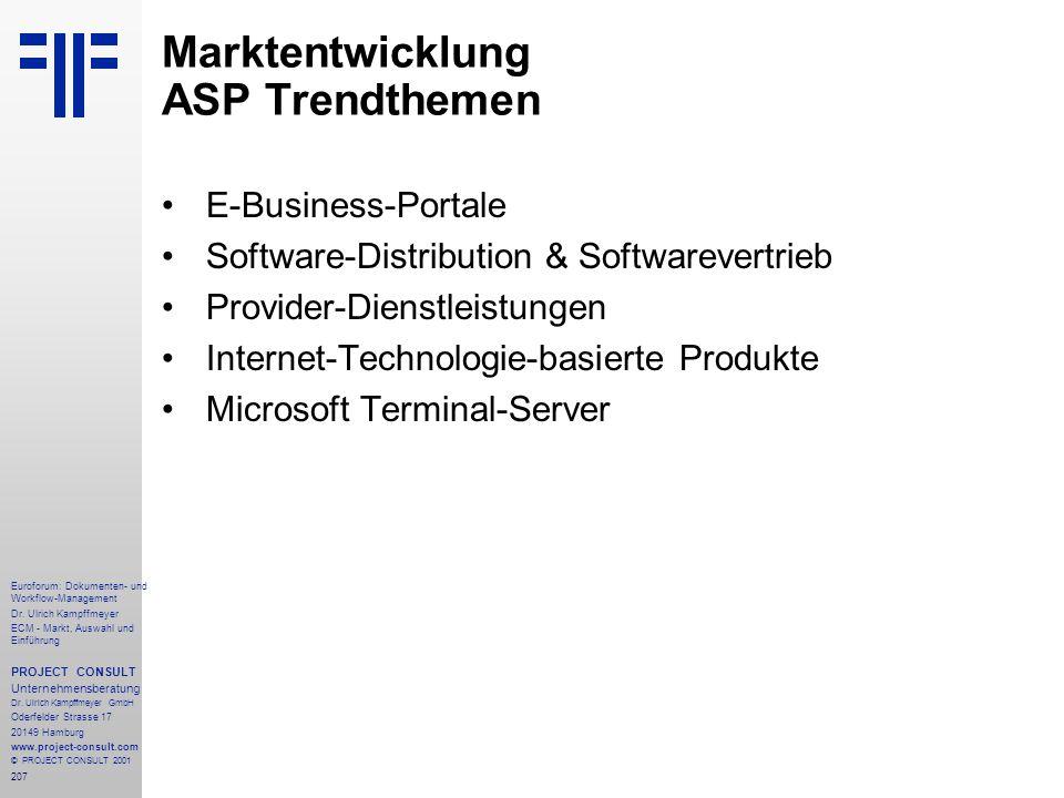 Marktentwicklung ASP Trendthemen