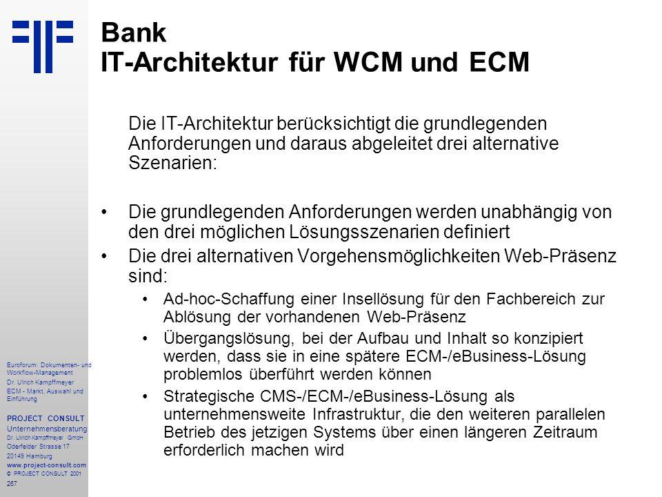 Bank IT-Architektur für WCM und ECM
