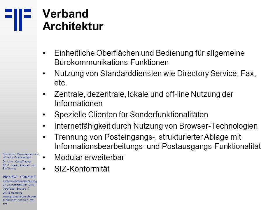 Verband Architektur Einheitliche Oberflächen und Bedienung für allgemeine Bürokommunikations-Funktionen.