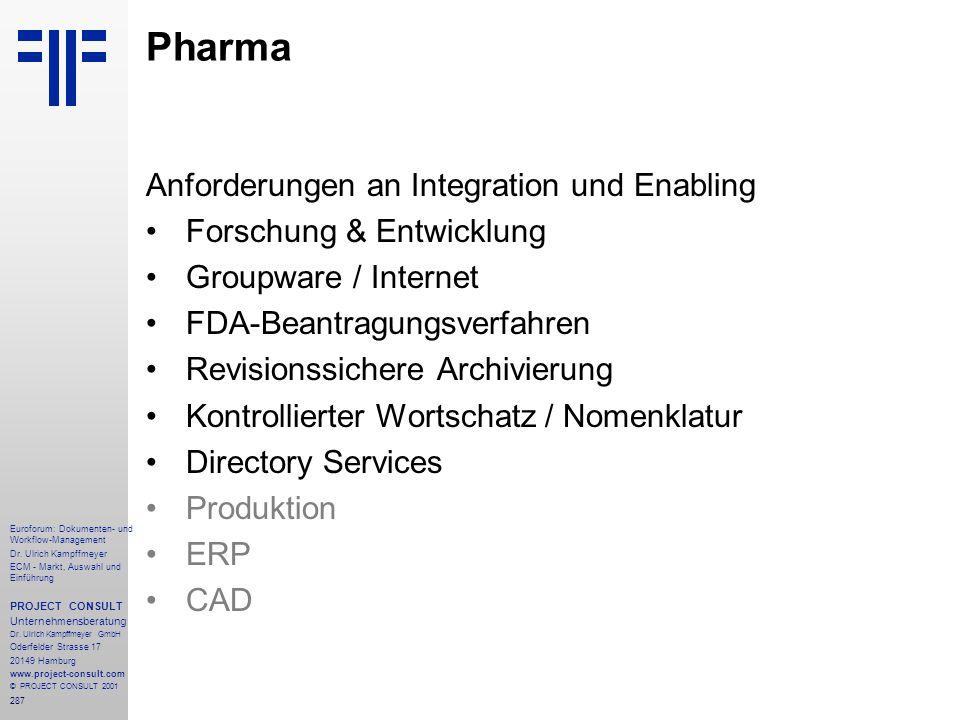 Pharma Anforderungen an Integration und Enabling