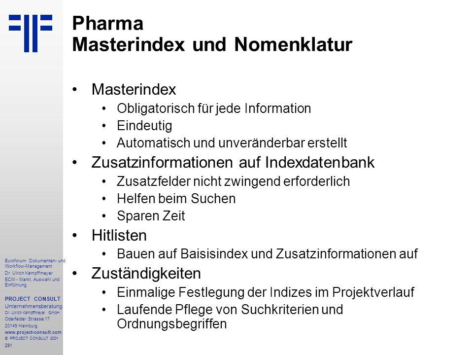 Pharma Masterindex und Nomenklatur