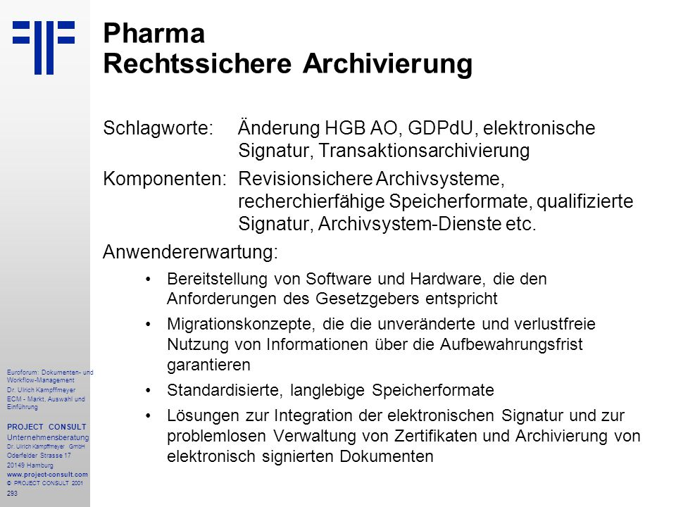 Pharma Rechtssichere Archivierung
