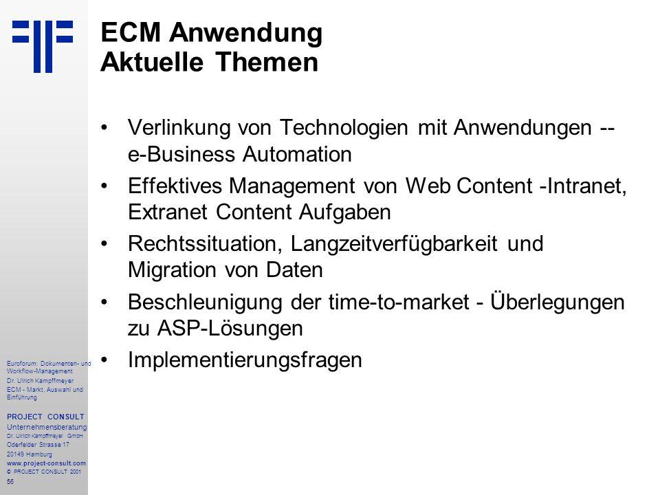 ECM Anwendung Aktuelle Themen