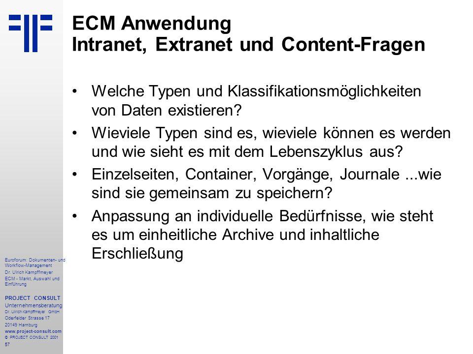 ECM Anwendung Intranet, Extranet und Content-Fragen