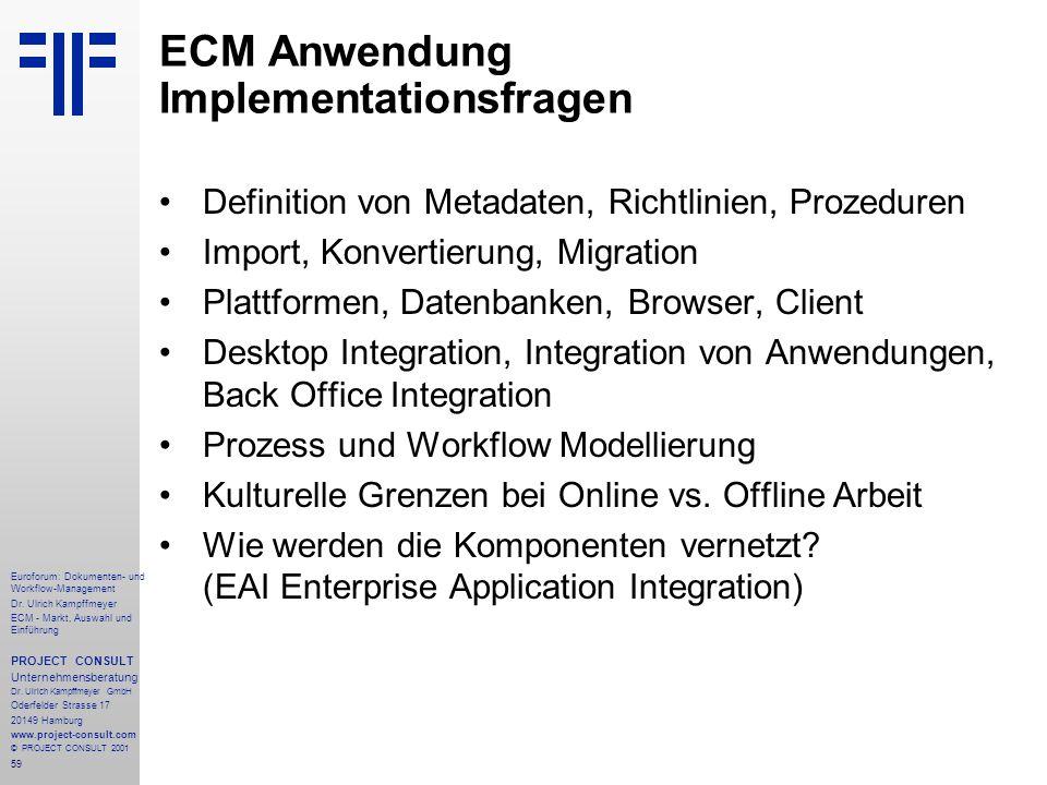 ECM Anwendung Implementationsfragen