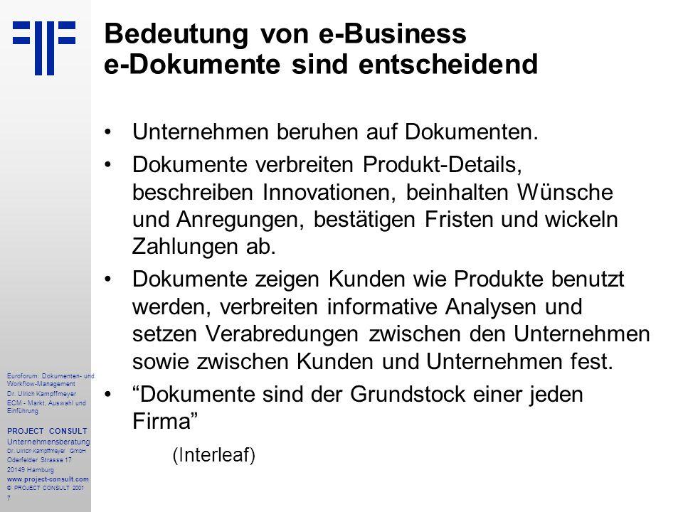 Bedeutung von e-Business e-Dokumente sind entscheidend