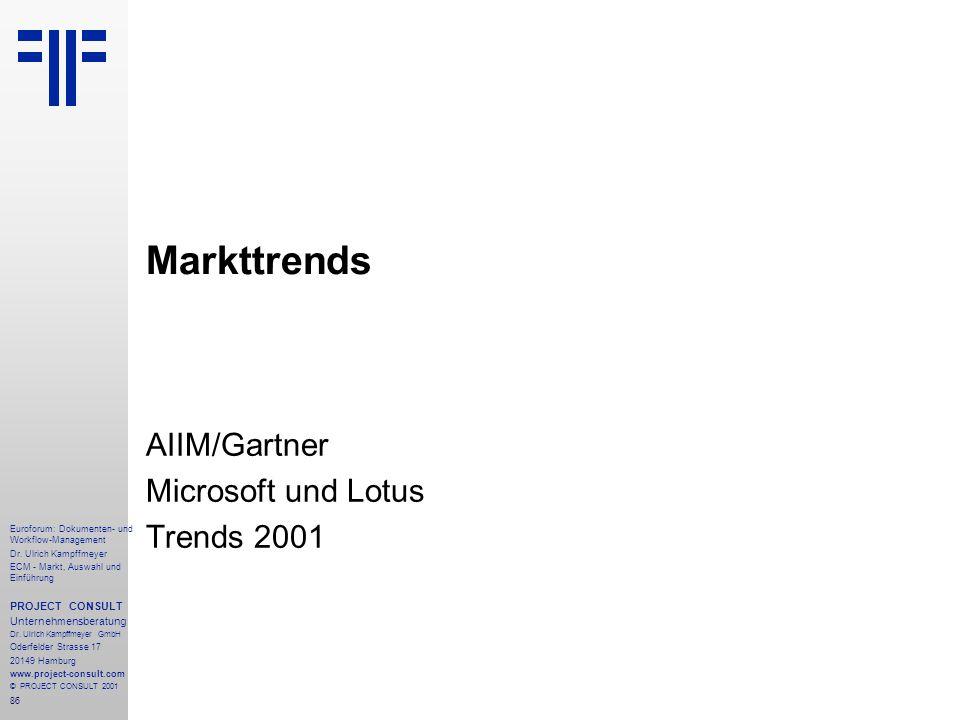 AIIM/Gartner Microsoft und Lotus Trends 2001