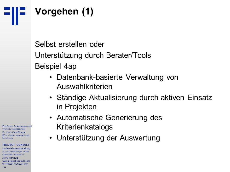 Vorgehen (1) Selbst erstellen oder Unterstützung durch Berater/Tools