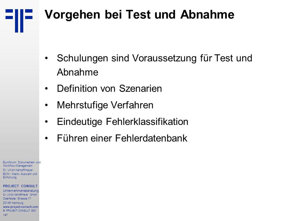 Vorgehen bei Test und Abnahme