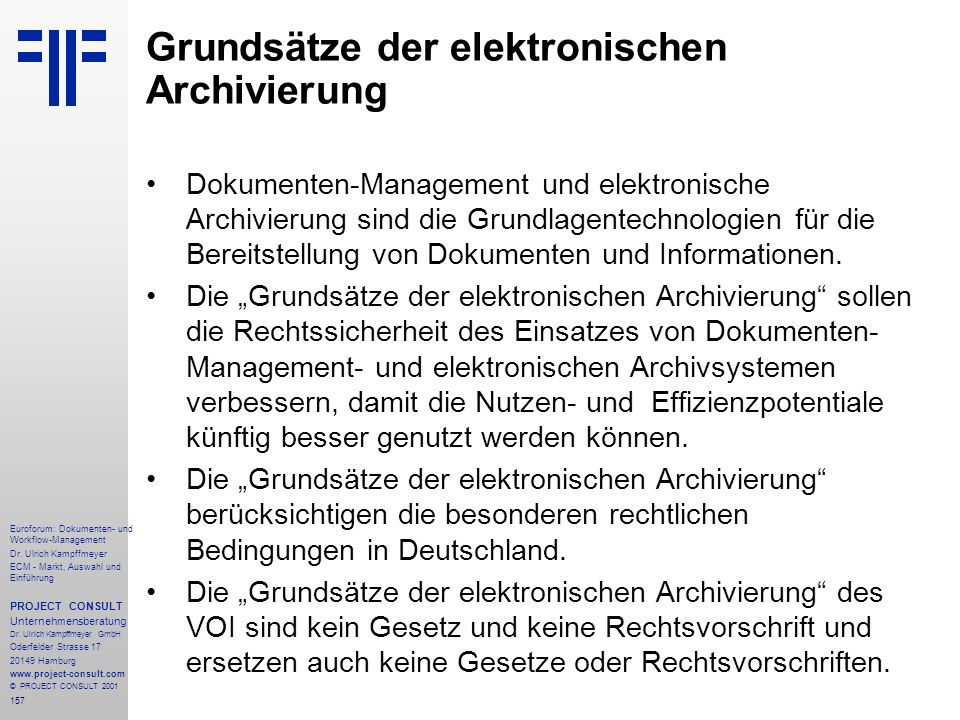 Grundsätze der elektronischen Archivierung