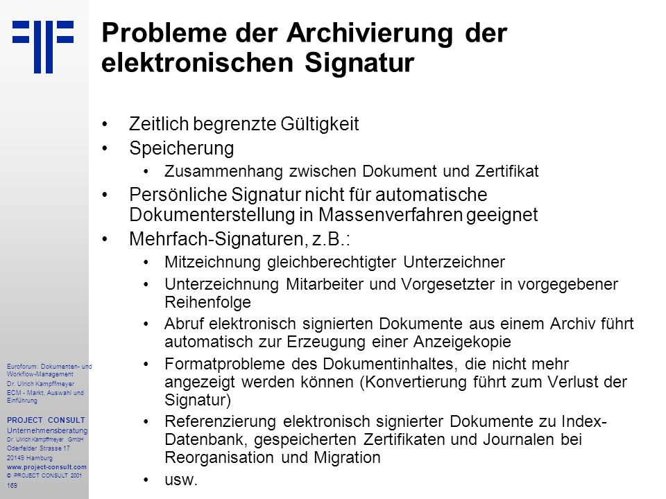 Probleme der Archivierung der elektronischen Signatur