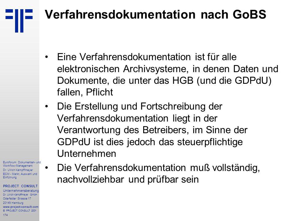 Verfahrensdokumentation nach GoBS