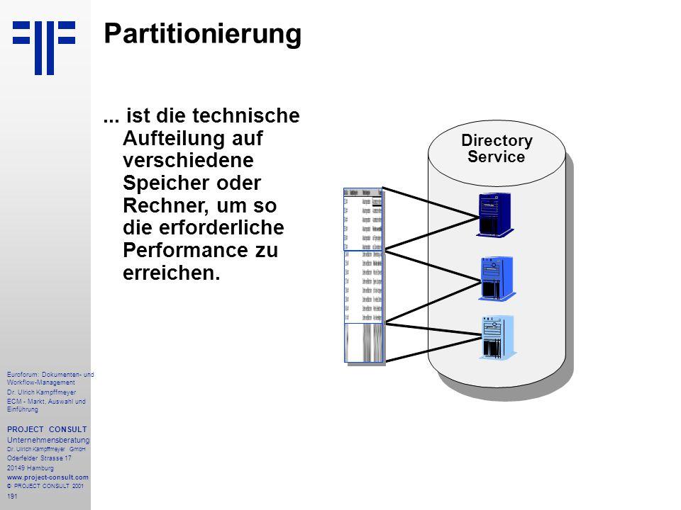 Partitionierung ... ist die technische Aufteilung auf verschiedene Speicher oder Rechner, um so die erforderliche Performance zu erreichen.