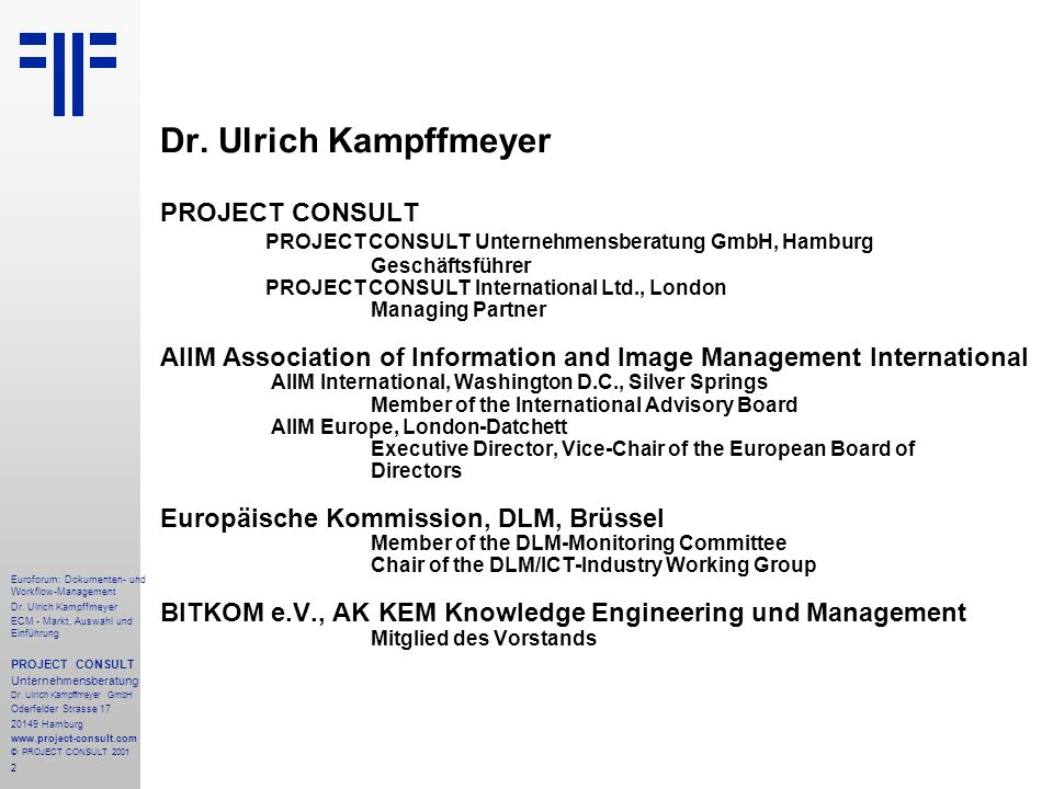 Dr. Ulrich Kampffmeyer PROJECT CONSULT