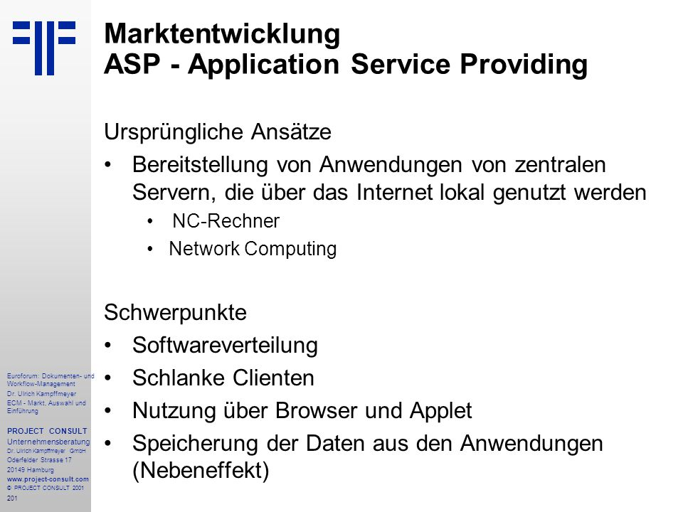 Marktentwicklung ASP - Application Service Providing