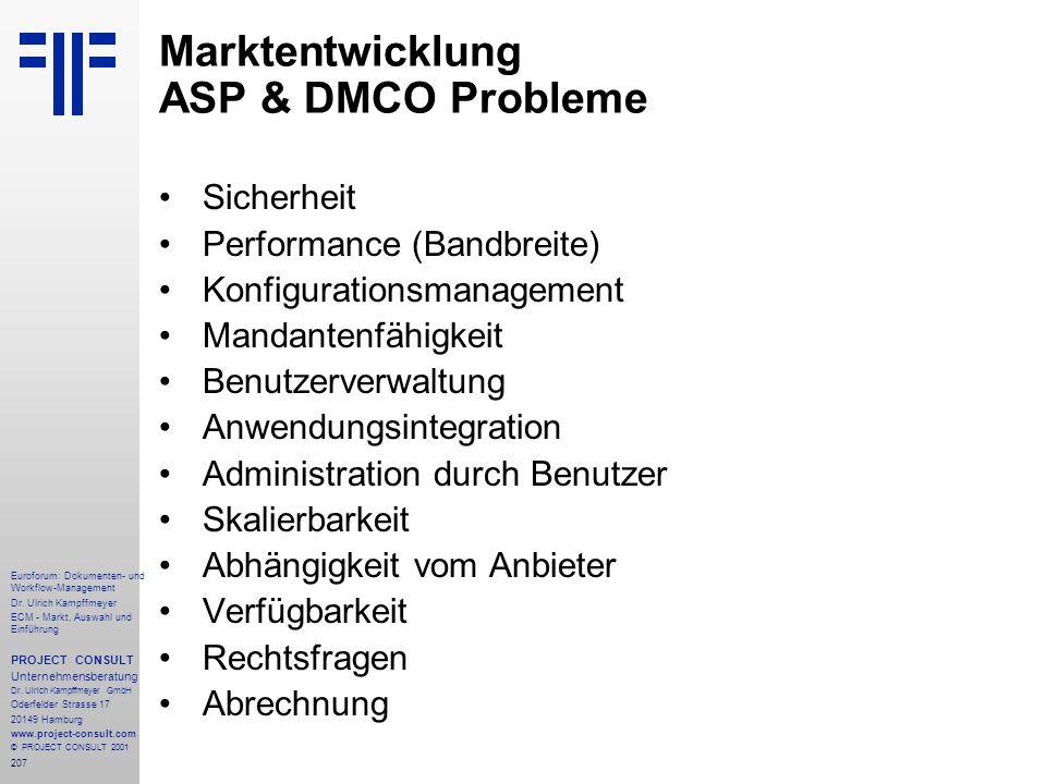 Marktentwicklung ASP & DMCO Probleme