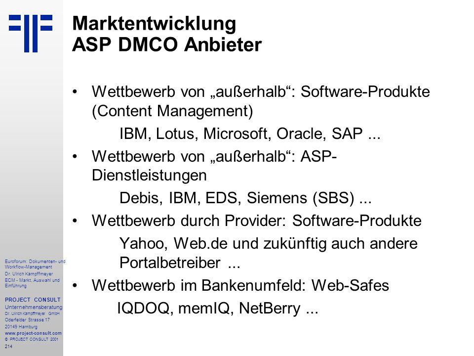 Marktentwicklung ASP DMCO Anbieter