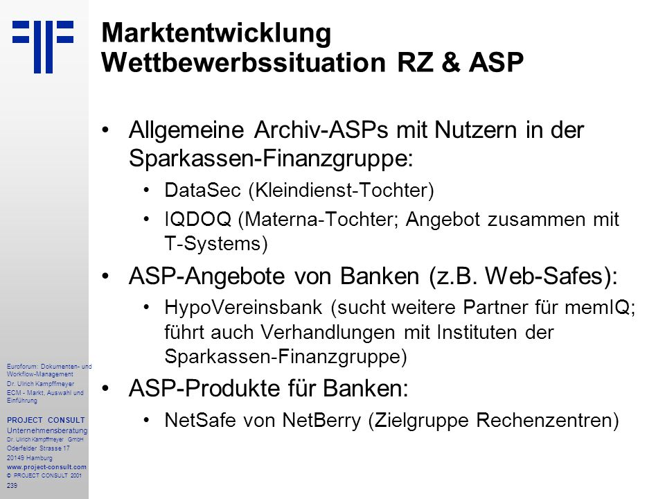 Marktentwicklung Wettbewerbssituation RZ & ASP
